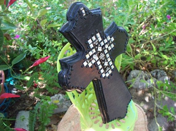 Black and Bling Cross by Dotster45 on Etsy, $45.00
