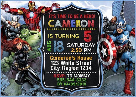 avenger birthday invitation  avenger invitation  superhero