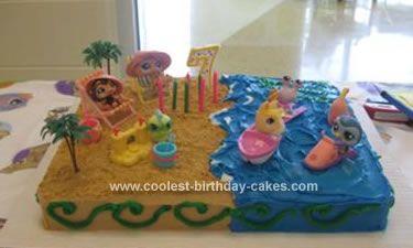 Cute Homemade Beach Birthday Cake Half birthday Birthdays and Cake