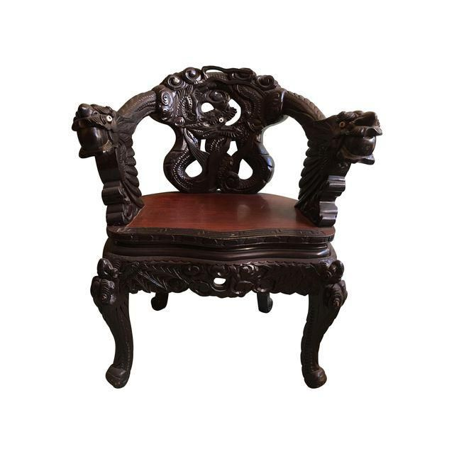 Image of Antique Chinese Elaborately Carved Rooster Chair