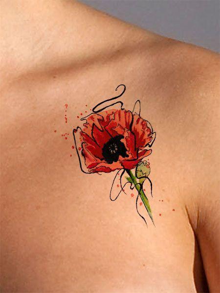 Poppy flower tattoo black tattoos watercolour tattoos for Watercolor poppy tattoo