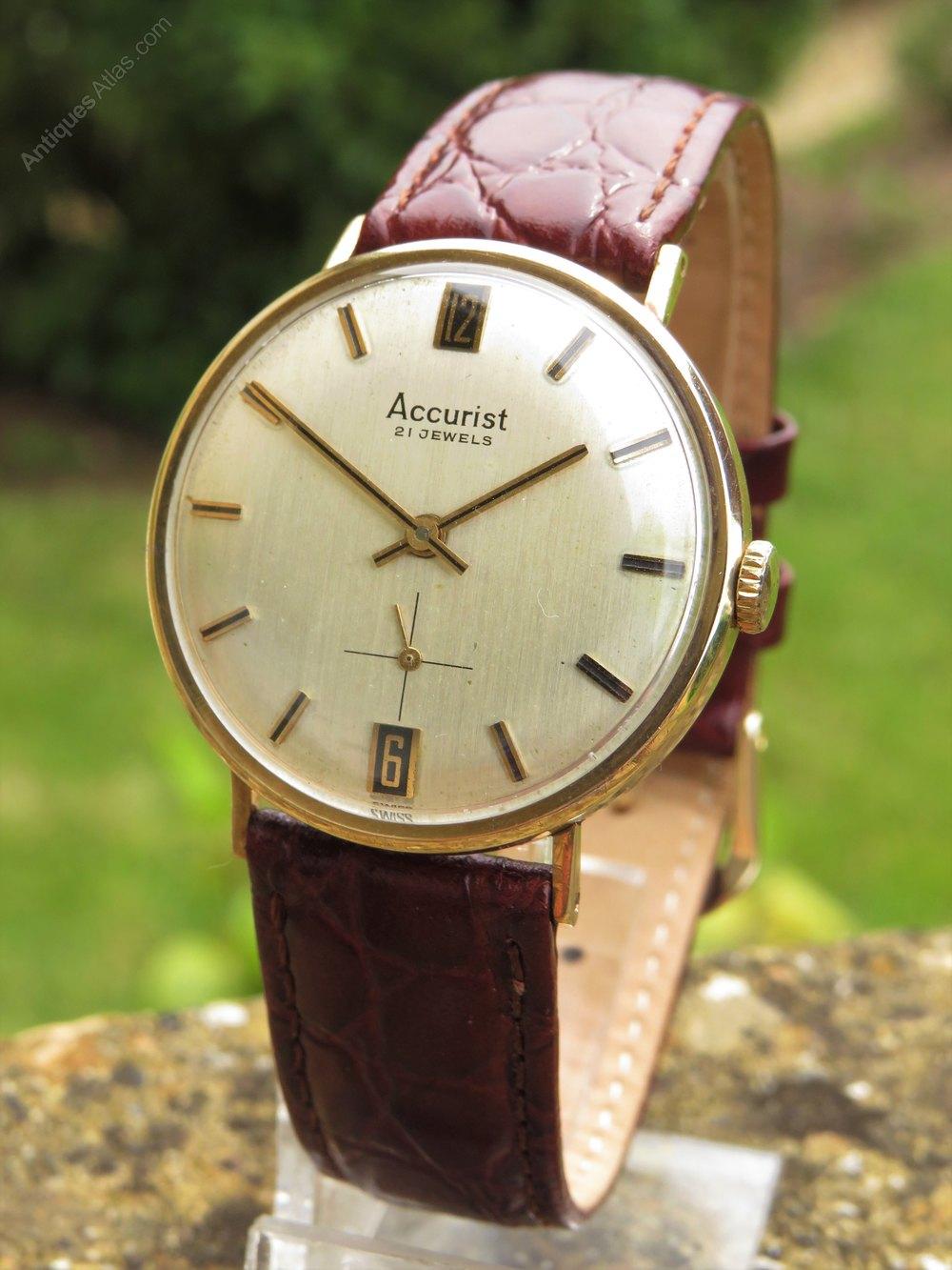Antiques Atlas Gents 9ct Gold Accurist Wrist Watch, 1968
