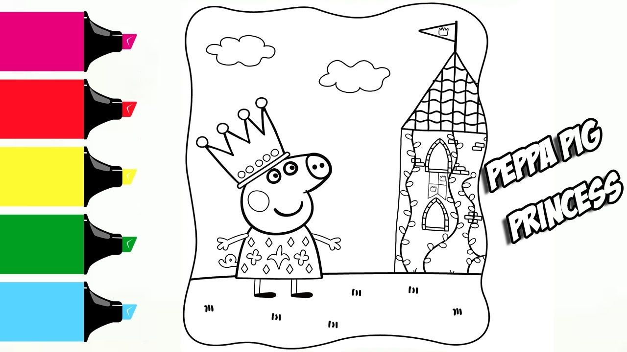 Peppa Pig Princess Сastle Coloring Book Pages Video For Kids with ...