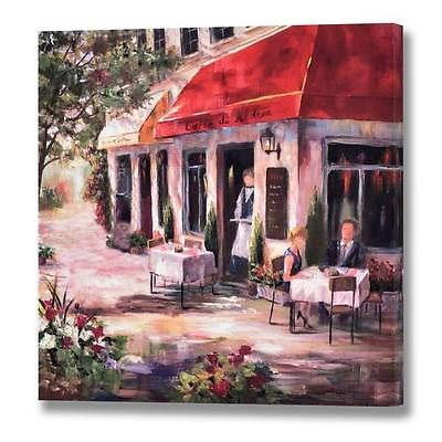 Canvas Picture French Cafe Wall Mounted Scene Bicycle Les Vin S Alfresco Red Canvas Pictures Painting Canvas Prints