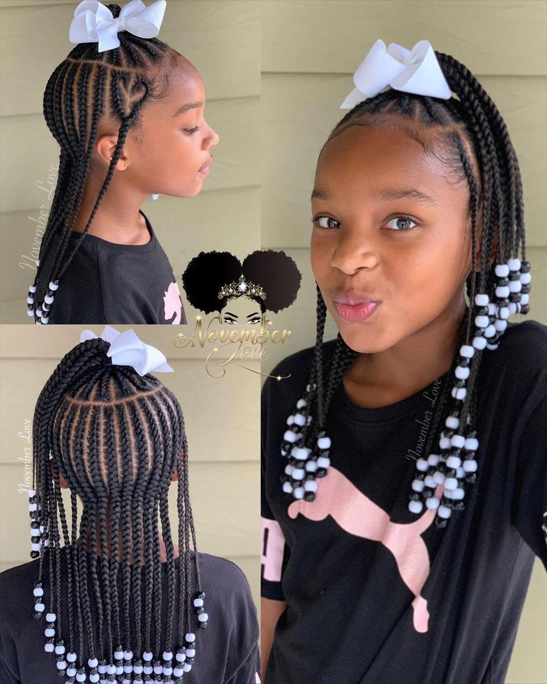 Braided Ponytail Hairstyles Kid Braid Styles Black Kids Hairstyles Lil Girl Hairstyles