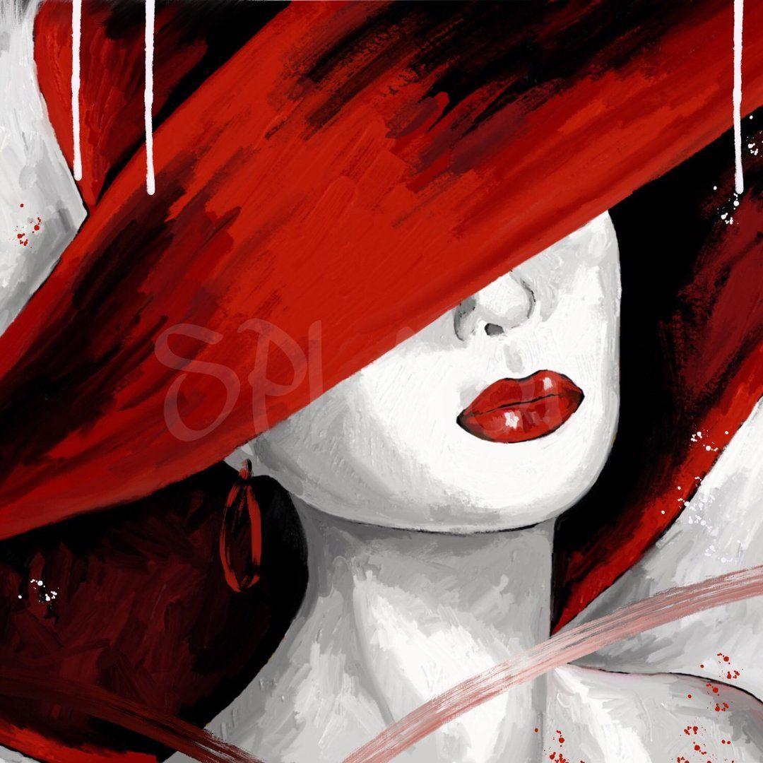 Dama con sombrero rojo-2 SP926  cuadros mujeres con sombreros  cuadros  damas cuadros rojos y negro cuadros pintados a mano  cuadros Splash  b20d2869d0b