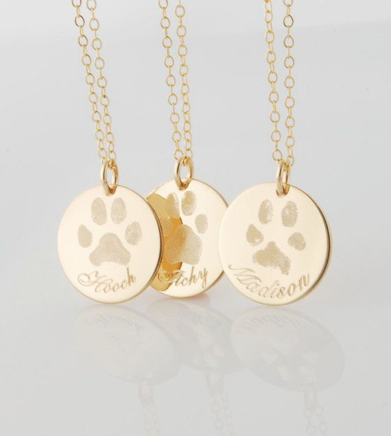 4ef3593731c Your pets actual paw or nose print in 14k gold fill or .925 sterling silver  - dog or cat memorial pendant necklace or bracelet Personalized