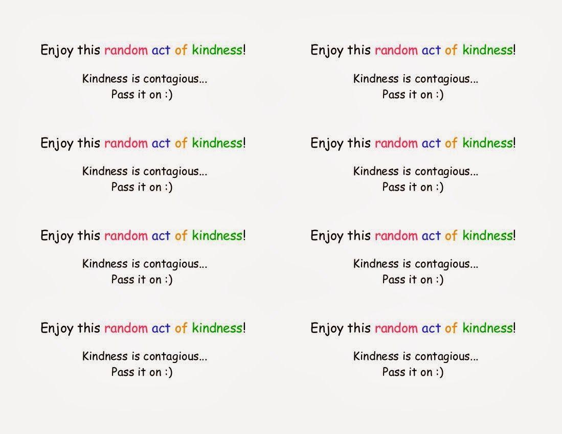 Random Acts Of Kindness Printable Raok Rak Printable Random Acts Of Kindness Random Act Kindness