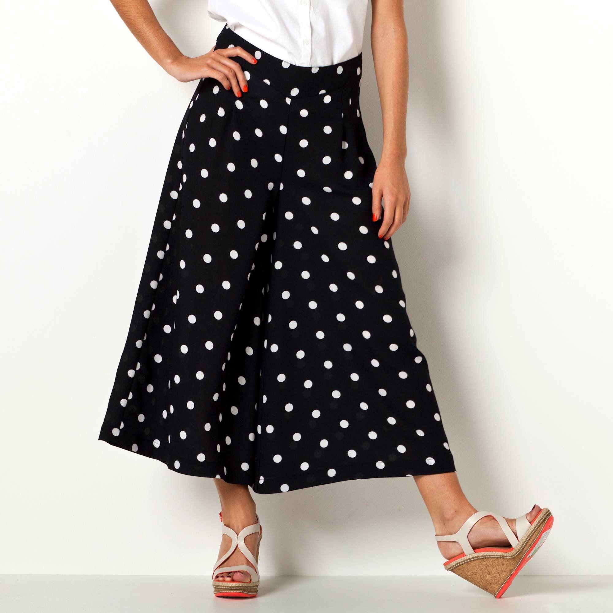 c1882052f523d Pantalon fluide (jupe-culotte ...) à pois extra large femme 3 SUISSES  COLLECTION -
