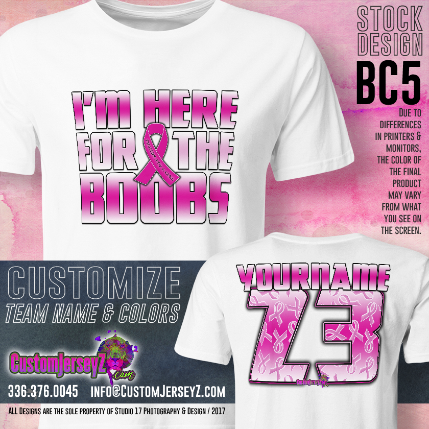 Item #AW33 Mens Womens Youth Breast Cancer Ribbon Support Gift Custom Awareness Jersey Shirt Softball Baseball Fastpitch