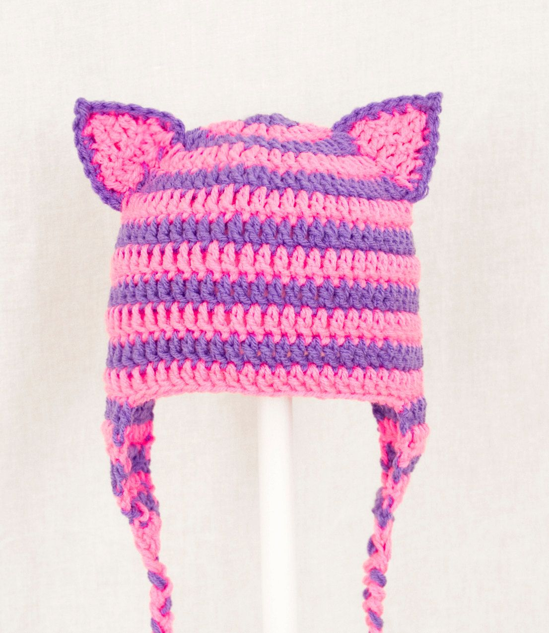 Cheshire Cat Ears Earflap Hat from Alice in Wonderland, Hot Pink and ...