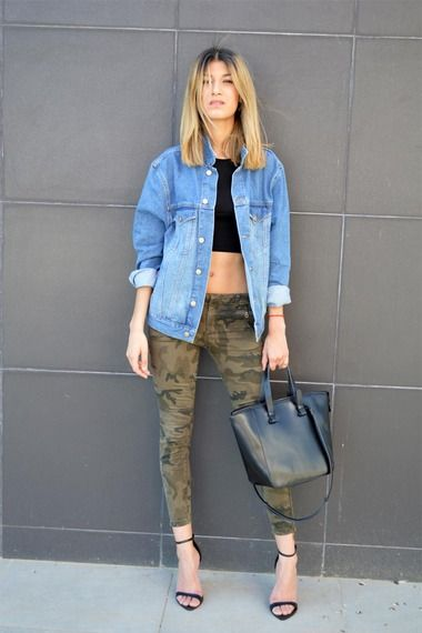 29b070ecf7e street style camo jeans worn with 90s oversize denim jacket and crop top