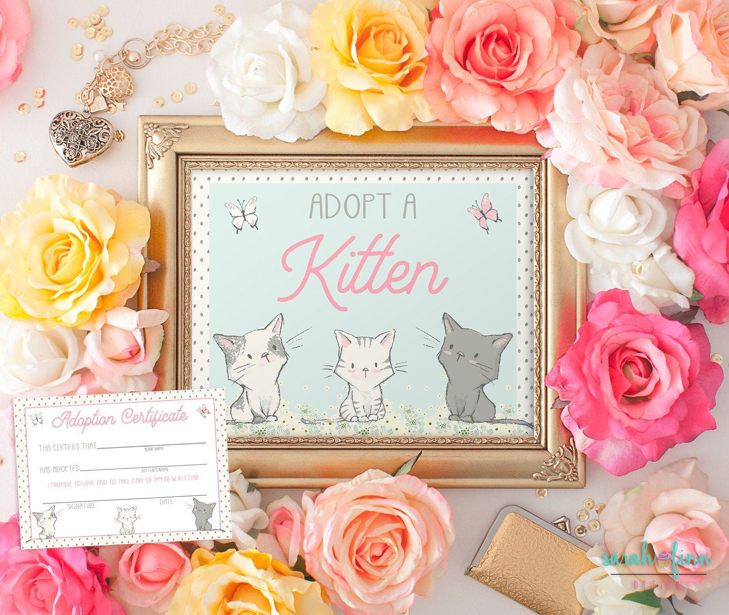 Adopt A Kitten Sign And Certificate Kitty Printable Cat Etsy In 2020 Farewell Party Decorations Cat Birthday Party Farewell Gifts For Friends