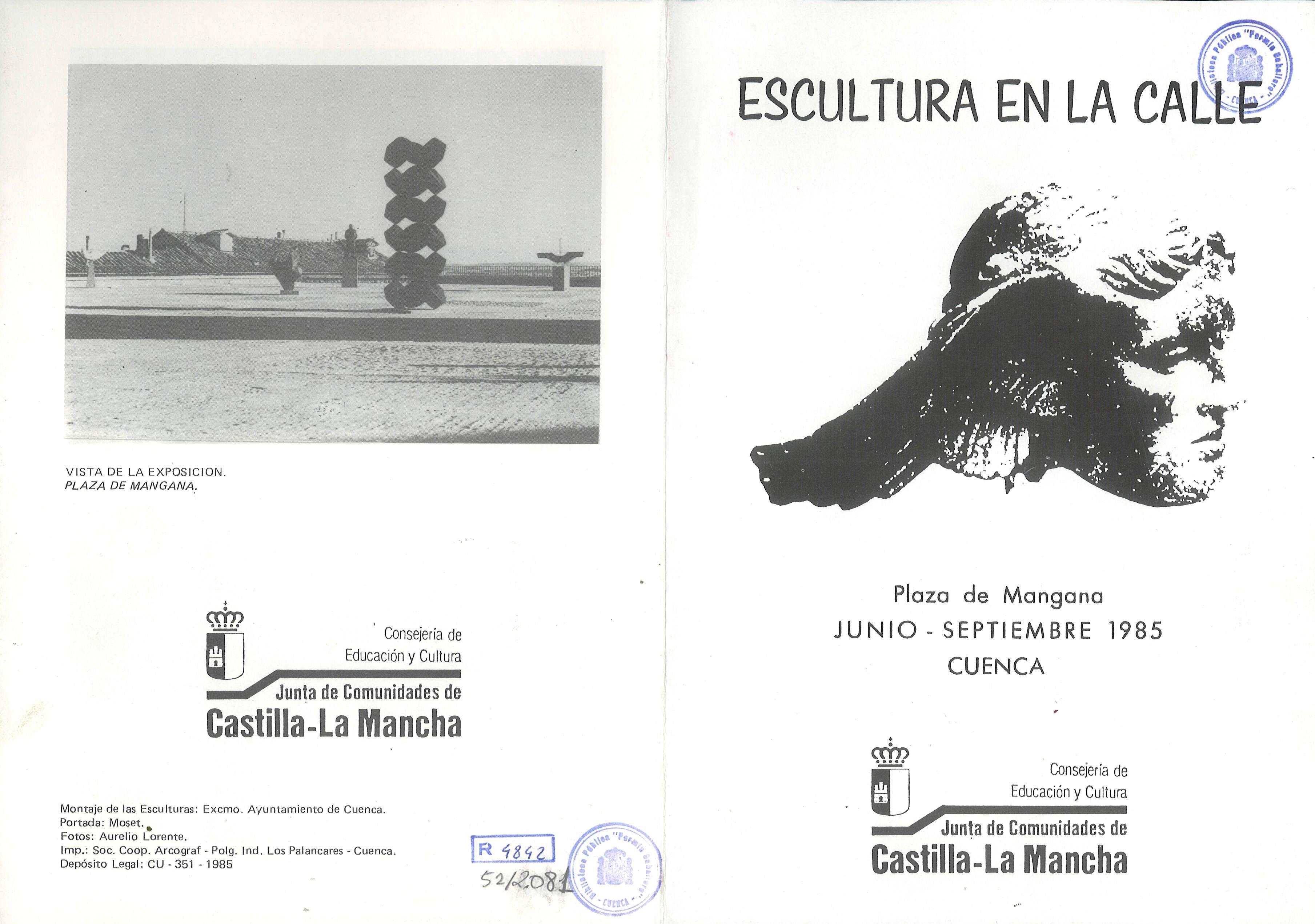 """""""Escultura en la calle"""" Exposición de esculturas en la Plaza de Mangana Cuenca Junio/Septiembre 1985 #Cuenca"""