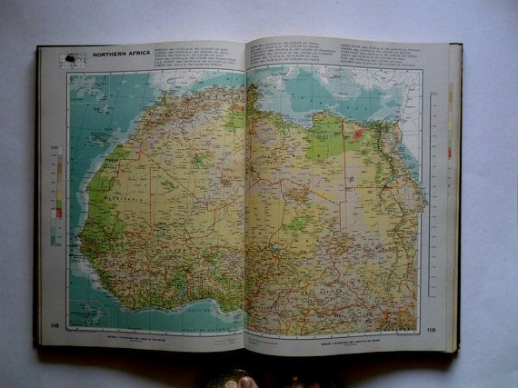 1960s BIG vintage world atlas book   vintage maps   book of