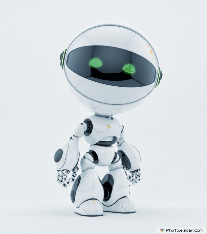 Cute robotic creature with green eyes