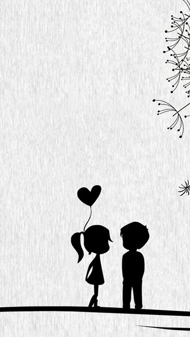 Love Cute Cartoon Little Couple Iphone Wallpapers Papel De