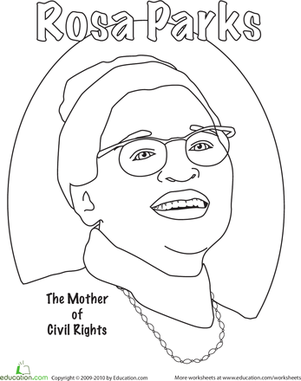 Rosa Parks Coloring | Black history month, Worksheets and Social ...