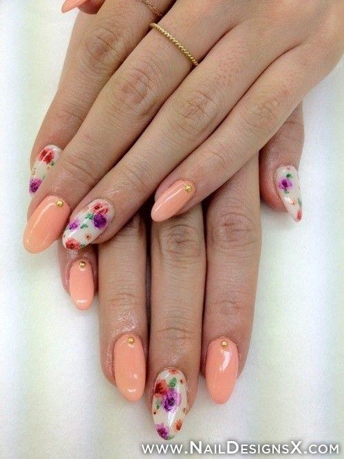 peach & floral stiletto nails » Nail Designs & Nail Art - Peach & Floral Stiletto Nails » Nail Designs & Nail Art Nail Art