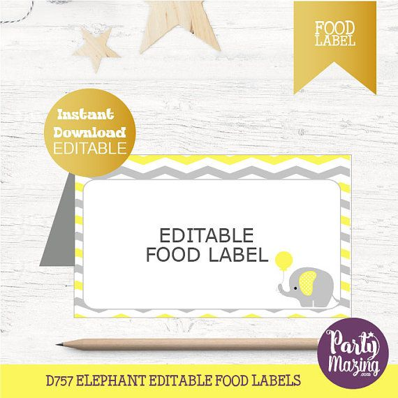 elephant party buffet cards editable printable food label favor