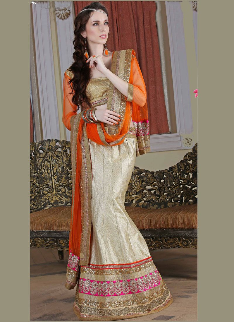 Sparkling Beige and Orange A Line Lehenga Choli
