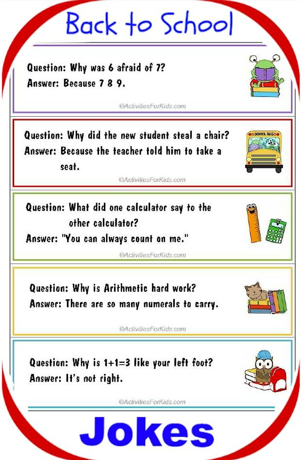 Printable Back to <b>School Jokes</b> for <b>Kids</b>, bookmark format | Back to ...