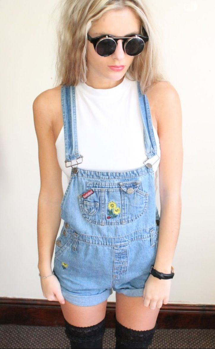 Love these denim dungarees with knee high socks x