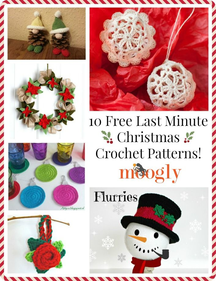10 Free Last Minute Christmas Crochet Patterns   Pinterest   Navidad ...