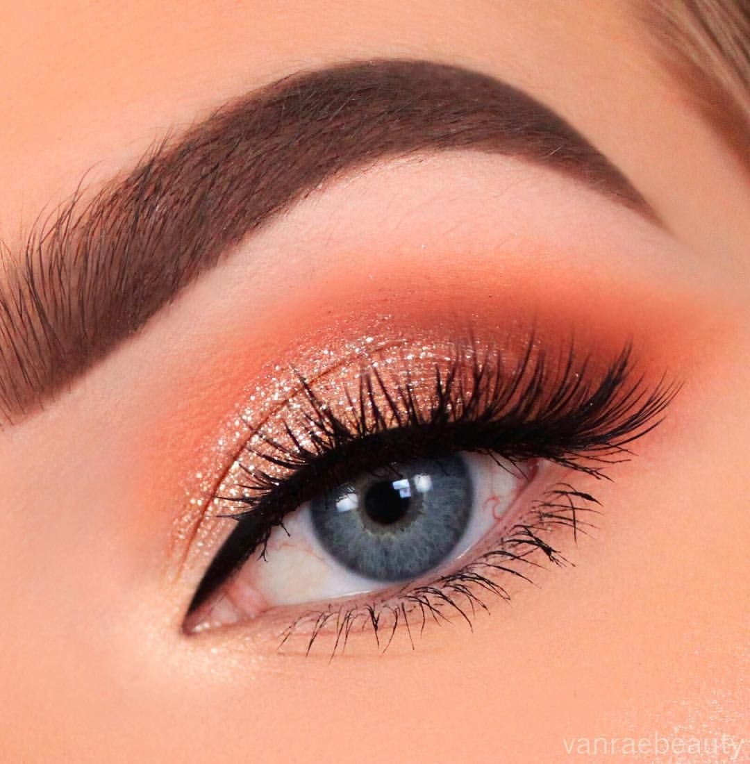 Peachy Glam All Day Everyday If You Guys Want Any Details On This Look Check Out My Yt Video Link I Eye Makeup Designs Shimmer Eye Makeup Smokey Eye Makeup