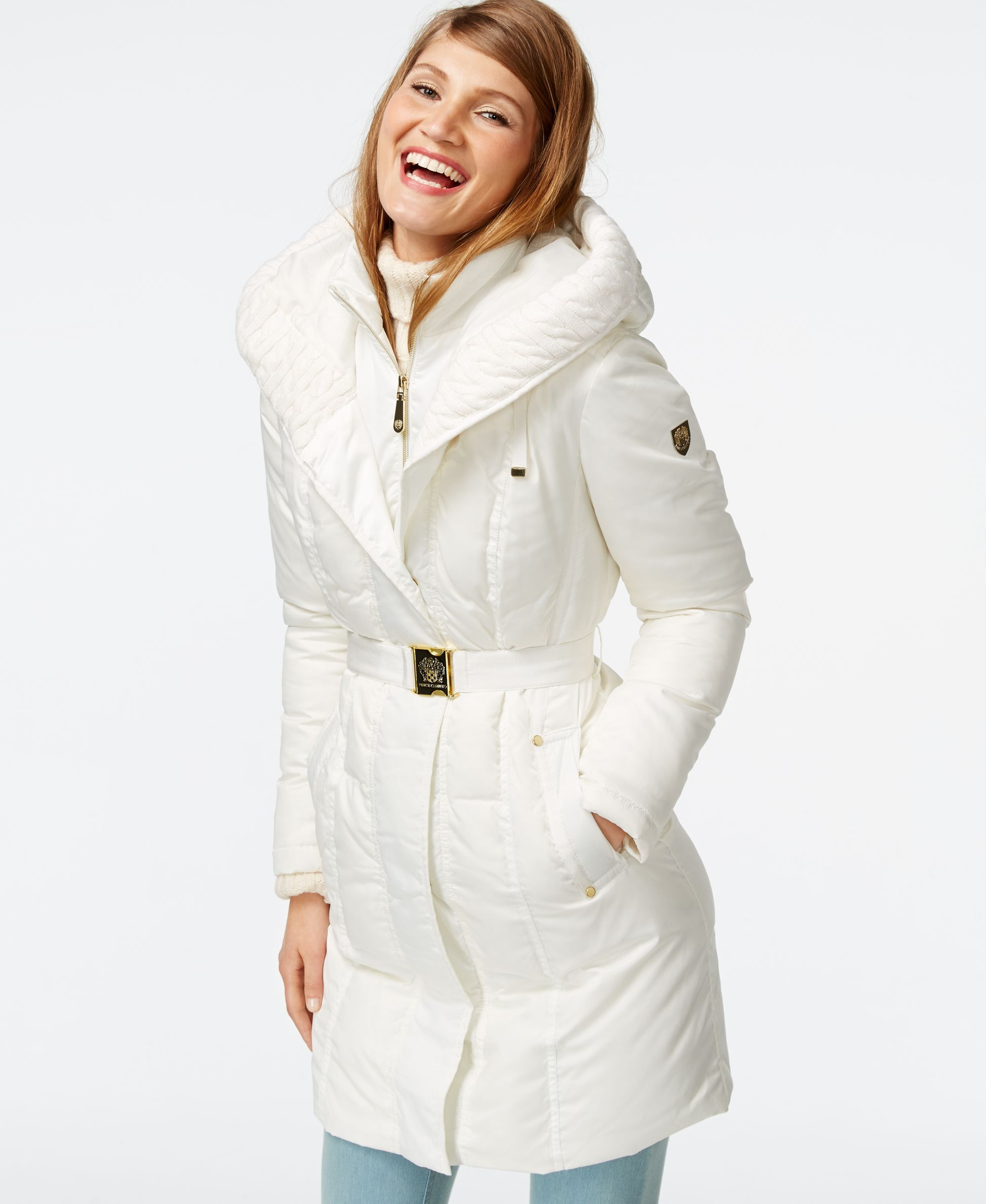 Vince Camuto Cable Knit Trim Down Puffer Coat Coats Women Macy S Down Puffer Coat Puffer Coat White Puffer Coat [ 2378 x 1947 Pixel ]