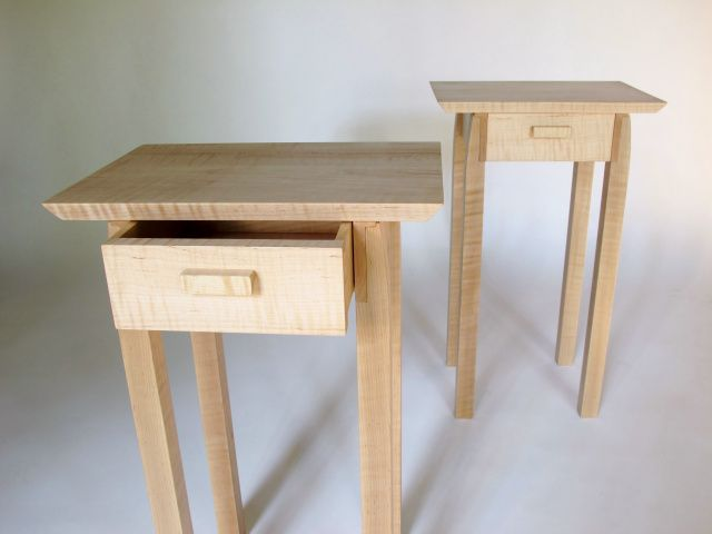 End Tables W Drawer Storage Small Side Tables In A Light Honey