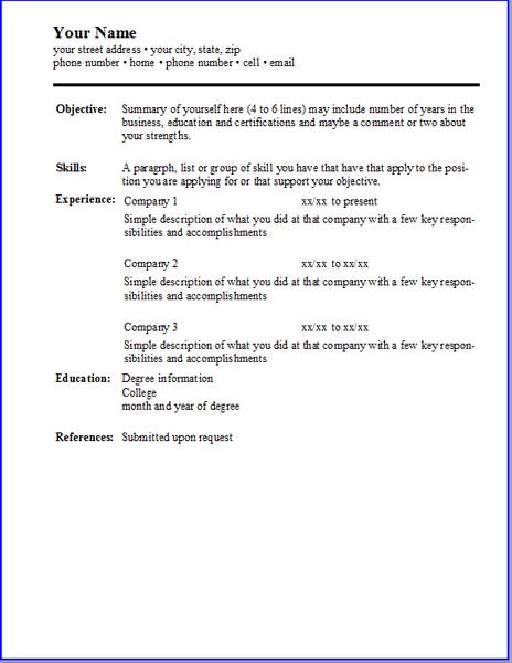 Templates Resume Template Professional Job Resume Examples Basic Resume