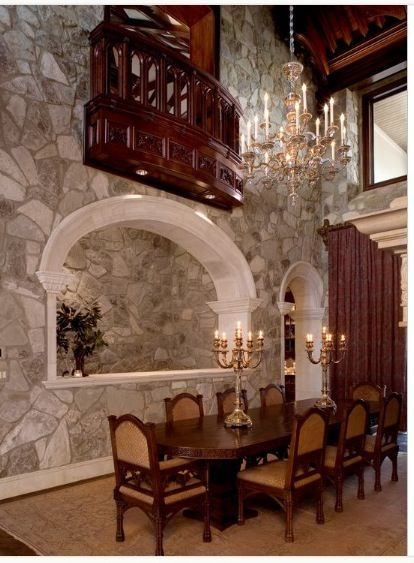 Beautiful dining room with 2nd floor balcony that overlooks it - Beautiful Dining Rooms