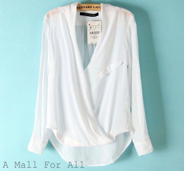 c7807d528743b Zara Women Off White Wrap Cross Over Top Viscose Draped Blouse Shirt  Surplice