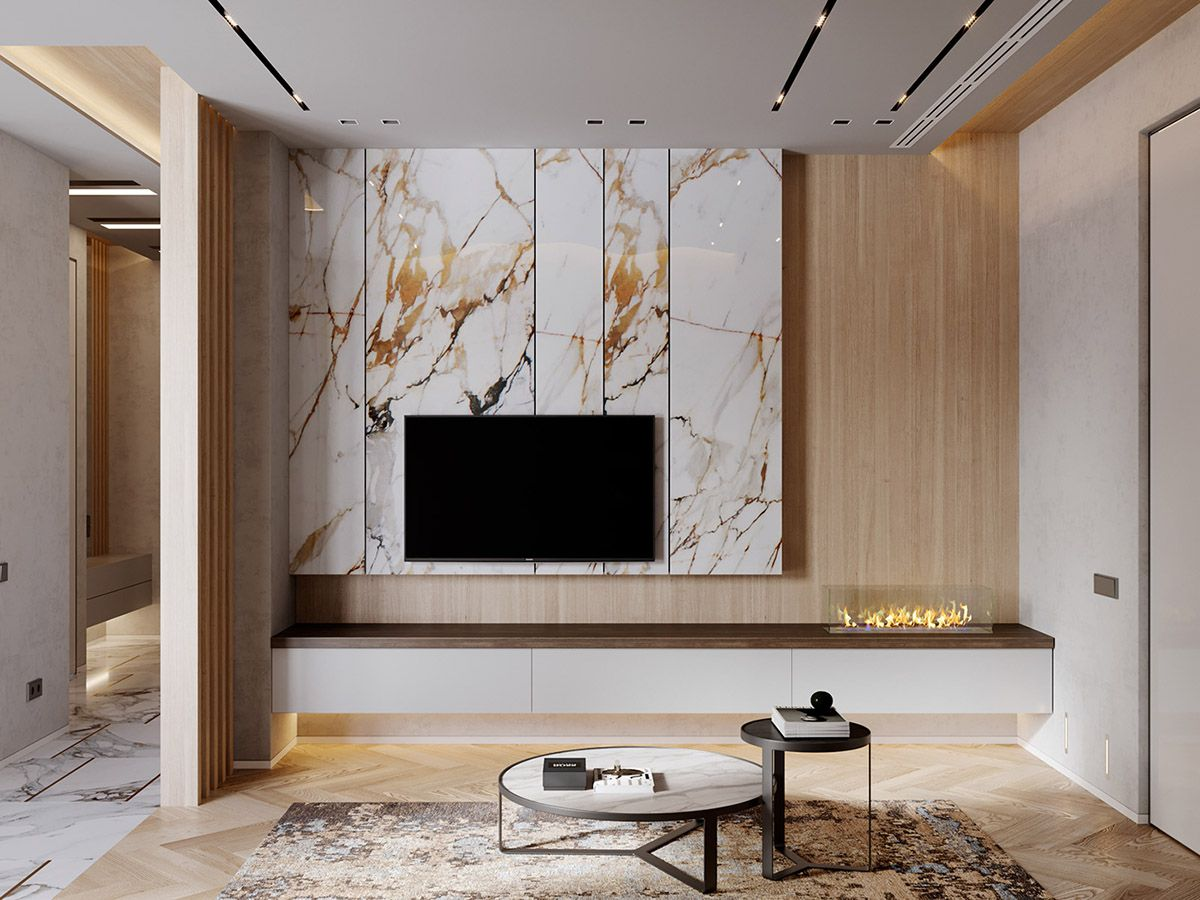 Interior Design Using Marble And Wood Combinations Living Room