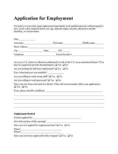 Printable Blank Employment Application Forms  Printable