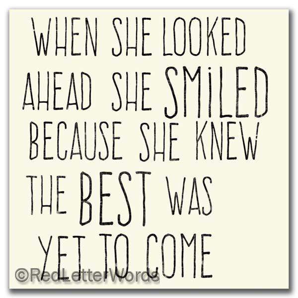 redletterwords - She Smiled...Future - 5x5 Cafe Mount, $19.00 (http://www.redletterwords.com/she-smiled-future-5x5-cafe-mount/)