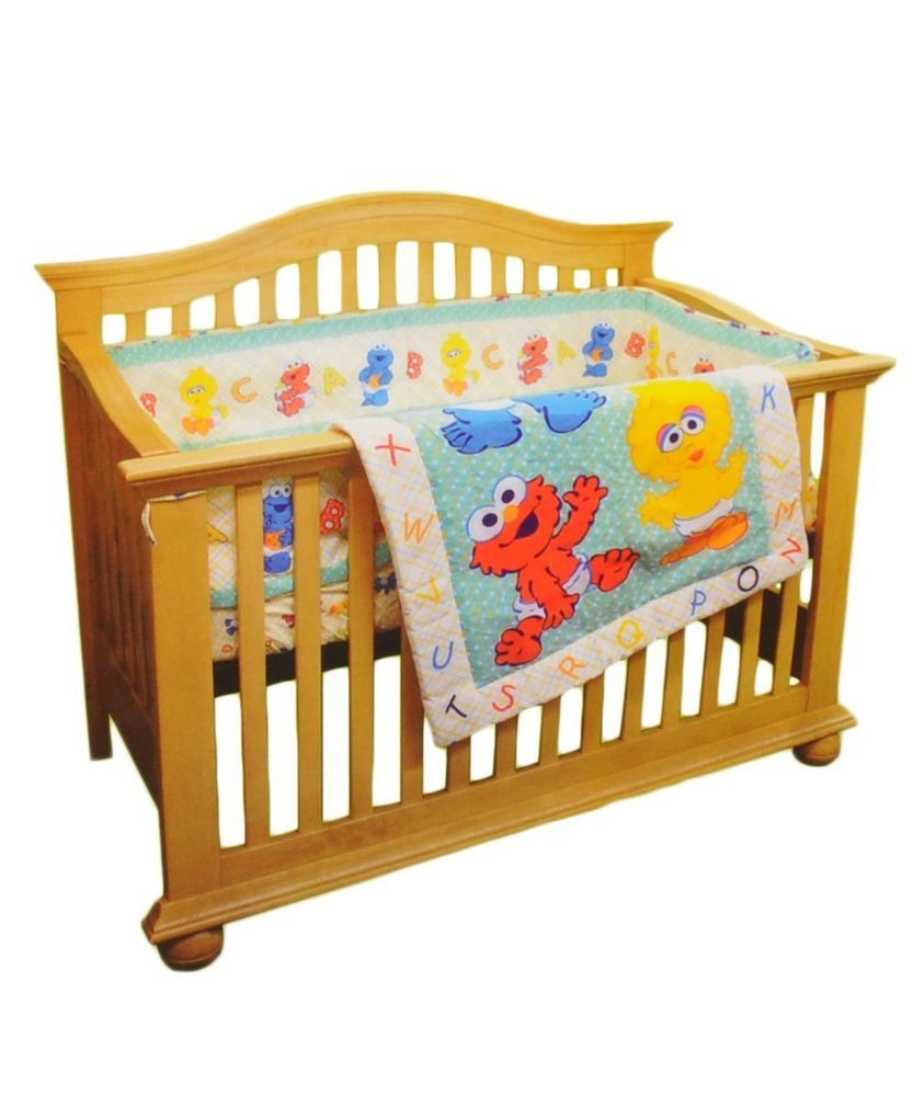 SESAME STREET And Friends Beginnings 3 Piece Crib Bedding Set 28 X 52 Mint Bag