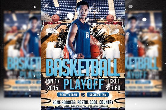 Basketball Playoff Flyer Template by Ciusan on Creative Market