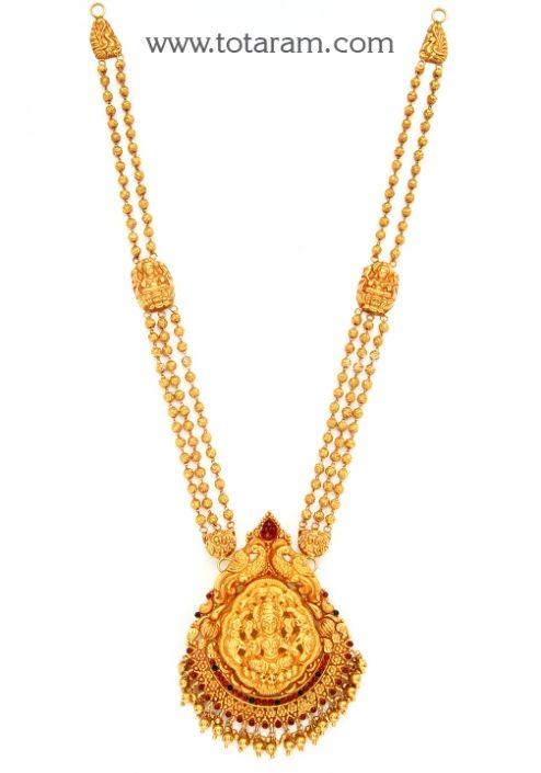 22K Gold Lakshmi Long Necklace Temple Jewellery Totaram