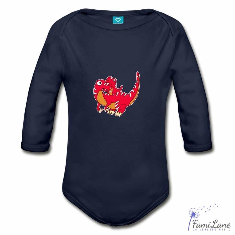 Red Dinosaur Mom with Baby Cartoon Print Organic Bodysuit for Babies - Long Sleeve / sky / 18 Months