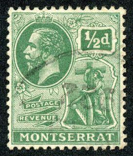 "Montserrat  1916 Scott 43 1/2p green  ""King George V"", wmk 3"