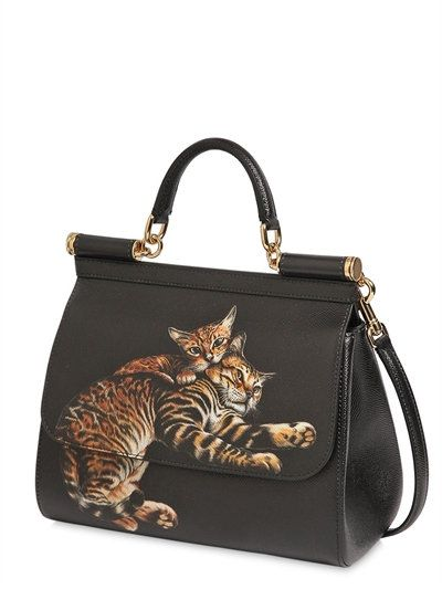6aca67539f DOLCE   GABBANA - MEDIUM SICILY CATS PRINTED DAUPHINE BAG - TOP HANDLES -  BLACK - LUISAVIAROMA