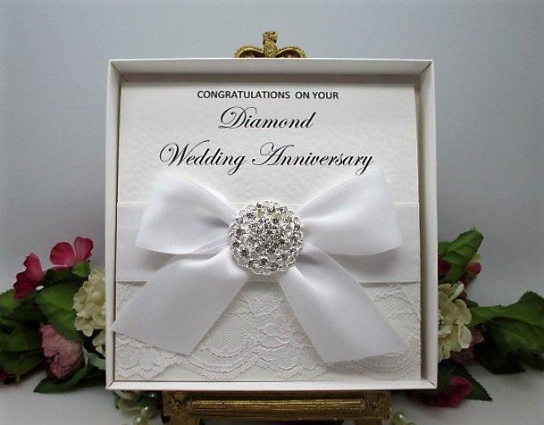 Dia60 boxed lace satin diamond wedding anniversary card 60 years