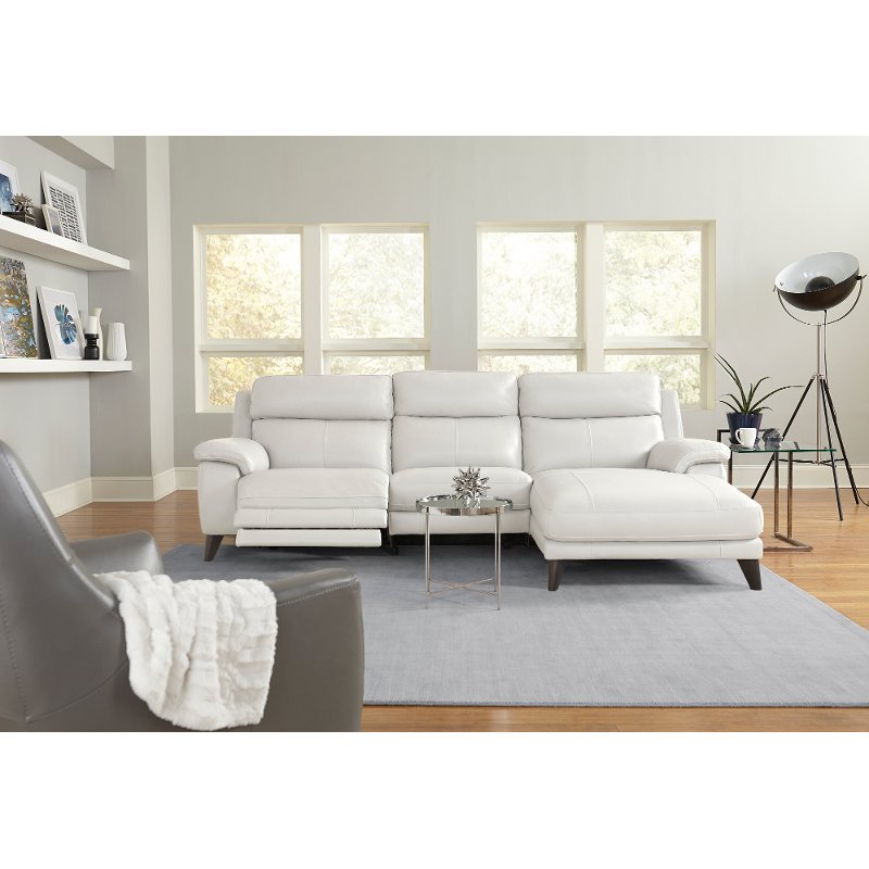 Frost White Leather Match Power Reclining Sofa With Right Arm Facing Chaise Venice Power Reclining Sofa Reclining Sofa Power Recliners
