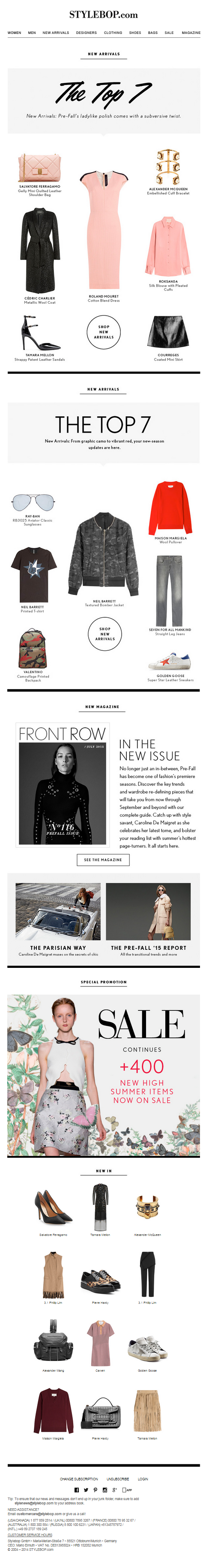 New Arrivals: Discover The Latest Styles +++ Front Row: The New Issue Is Online +++ Sale: 400 New High Summer Items Added - STYLEBOP.com | 07.07.2015