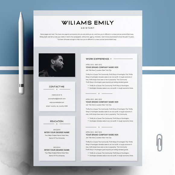 Resume Template 2 Pages For Ms Word Resume Design Template Clean Resume Template Resume Template