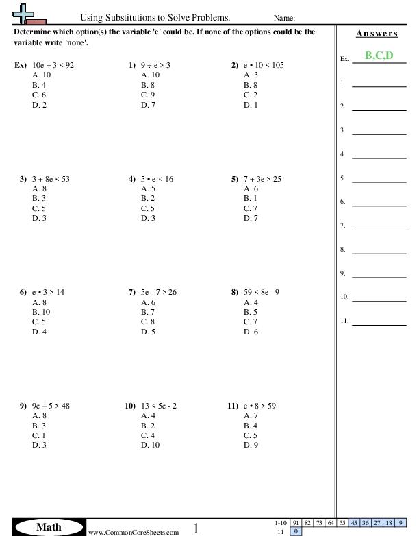 Algebra Worksheets Using Substitution To Solve Problems Worksheet Algebra Worksheets Free Algebra Worksheets