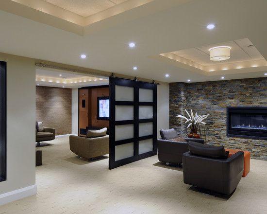 Japanese Style Sliding Door Into Guest Bedroom Basement Design