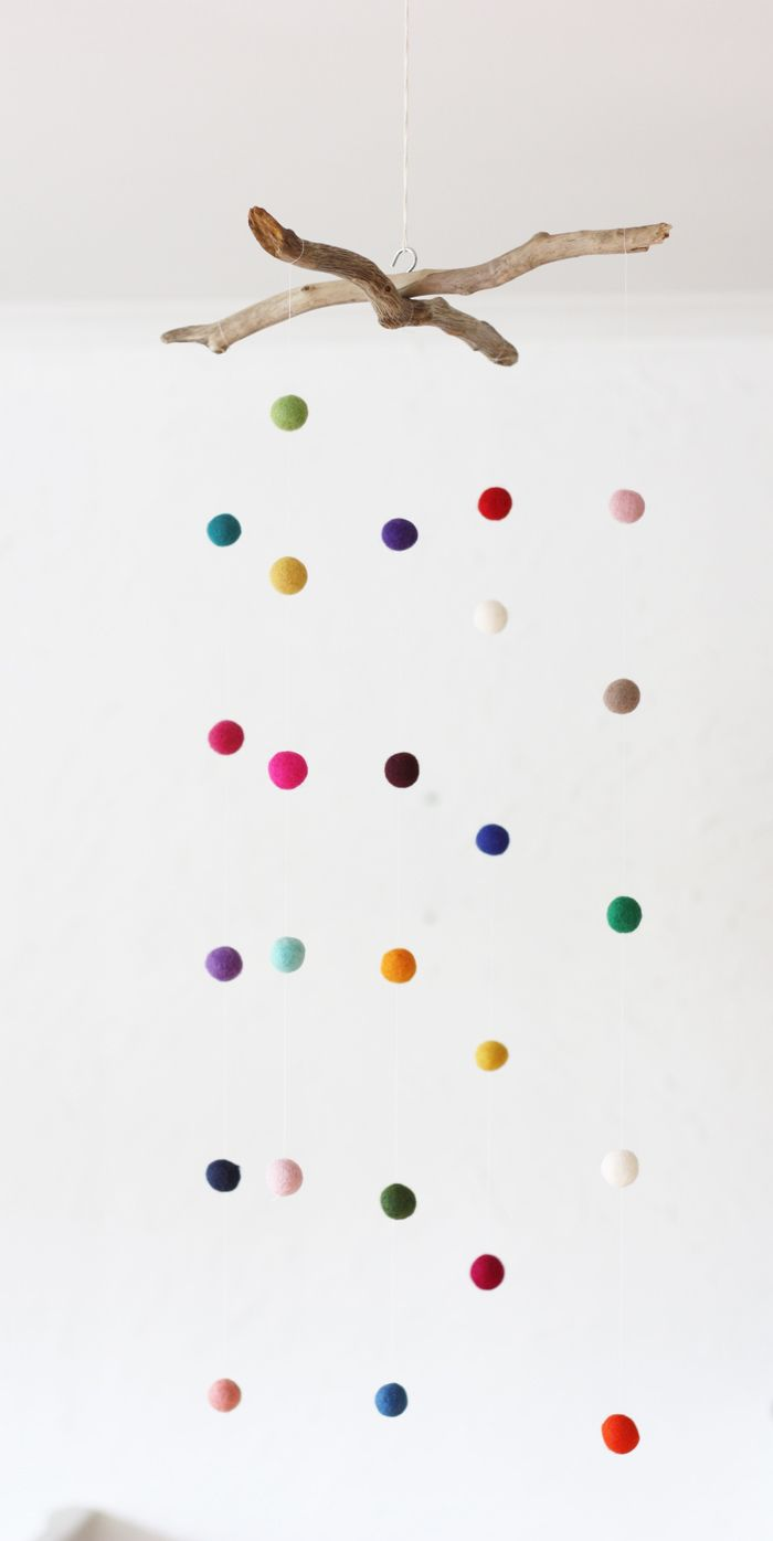 15 Fun and Interactive DIY Mobiles | Felt ball, Felting and Nursery